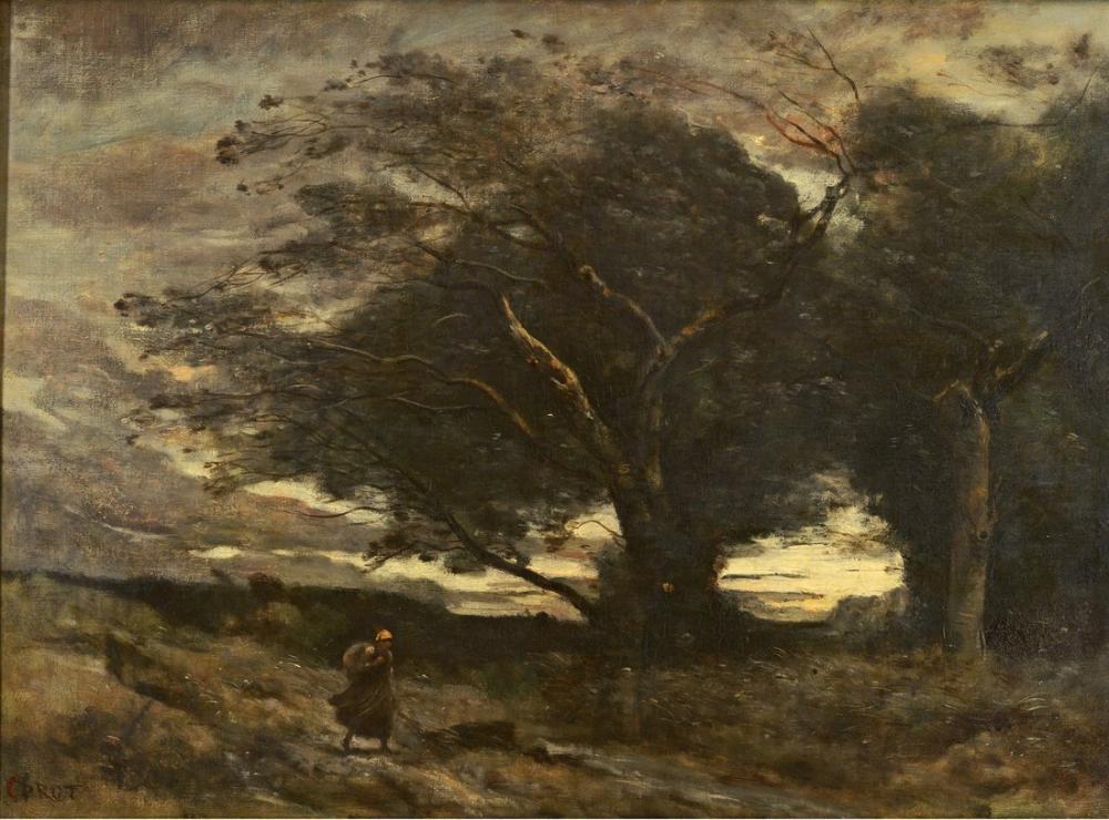 Camille Corot Rüzgarın Bir Parçası, Kanvas Tablo, Camille Corot