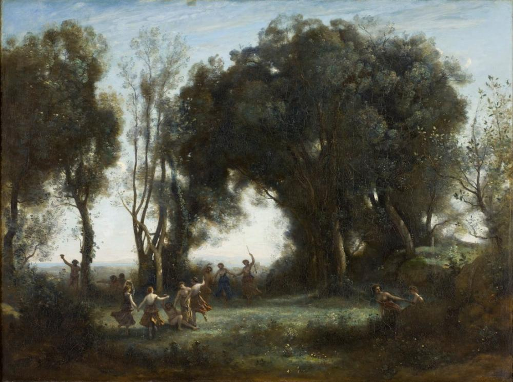 Camille Corot Bir Sabah Perilerin Dansı, Kanvas Tablo, Camille Corot