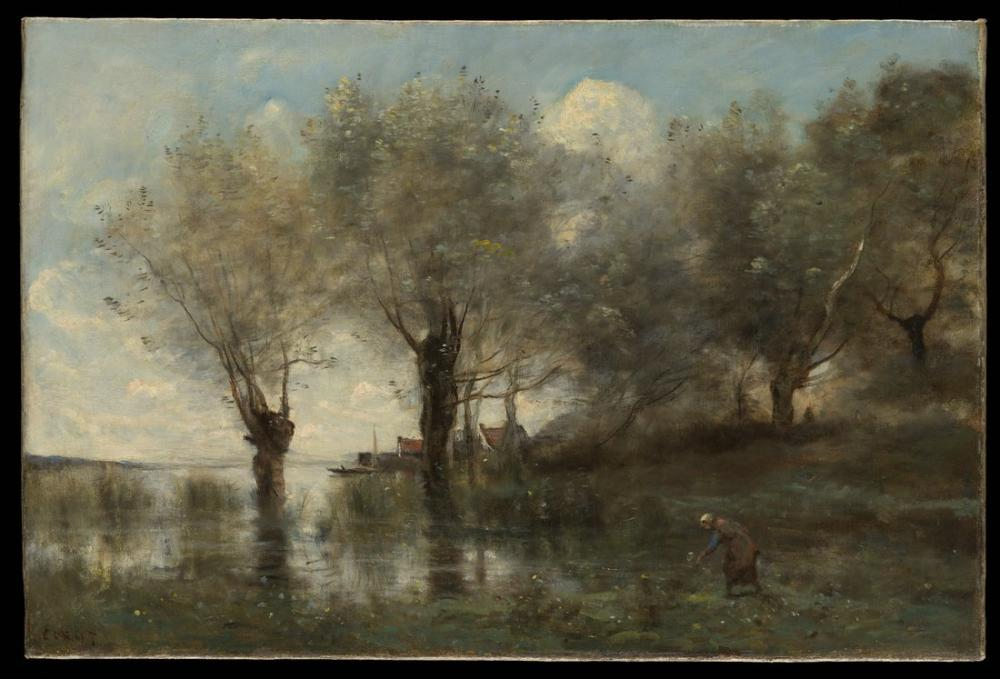 Camille Corot Bir Gölet Picardy, Kanvas Tablo, Camille Corot