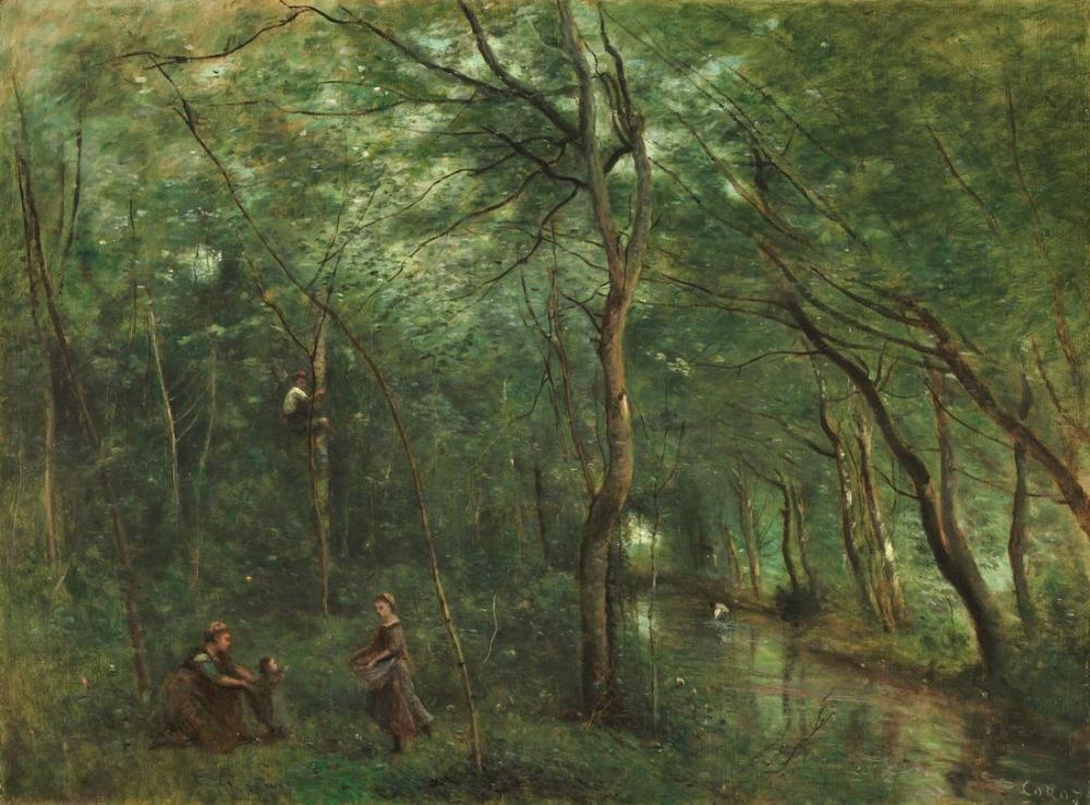 Camille Corot Yılan Balığı Seçiciler, Kanvas Tablo, Camille Corot