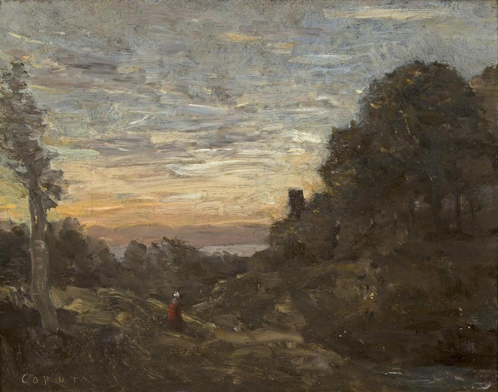 Camille Corot Ağaçlardaki Kule, Kanvas Tablo, Camille Corot