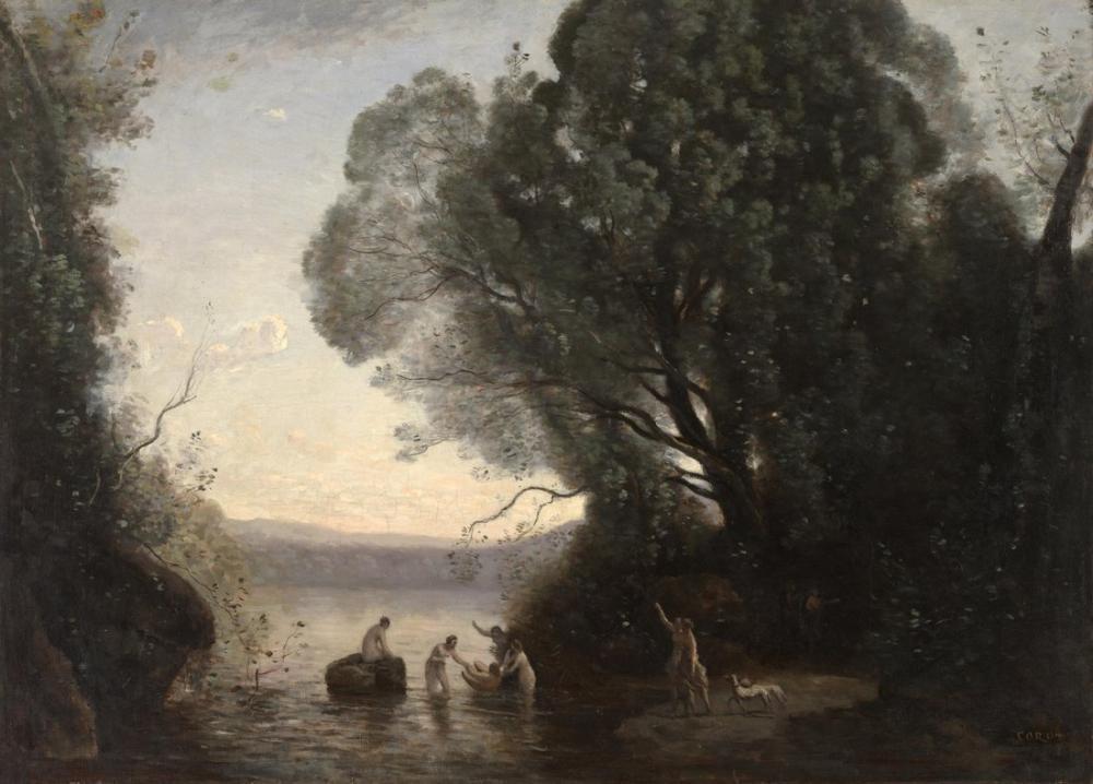 Camille Corot Diane Hamamı, Kanvas Tablo, Camille Corot
