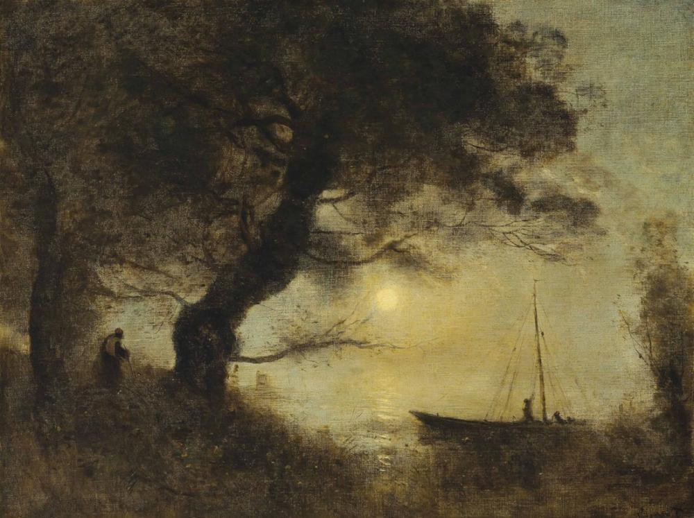 Camille Corot Ay Işığında Tekne, Kanvas Tablo, Camille Corot