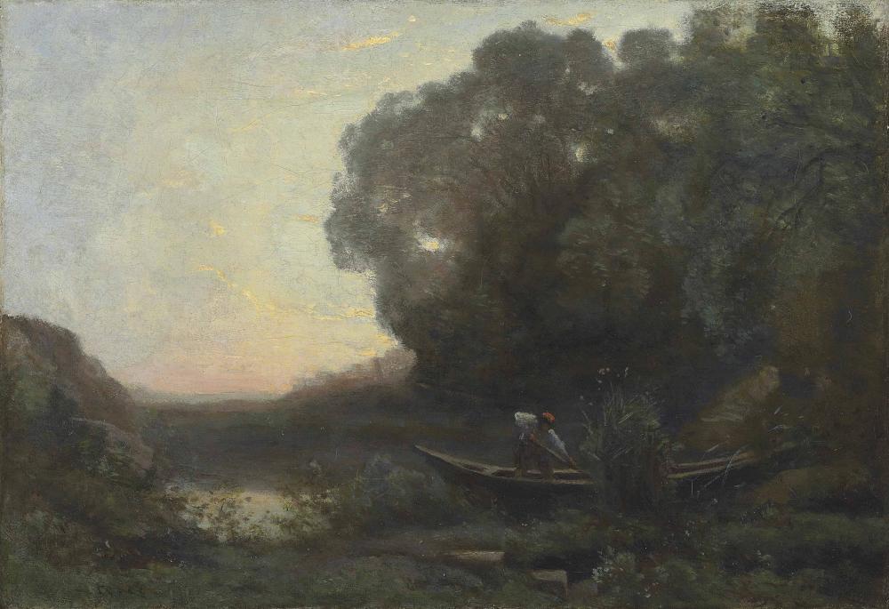 Camille Corot Kıyıdaki Kayıkçı Güneşin Batması, Kanvas Tablo, Camille Corot