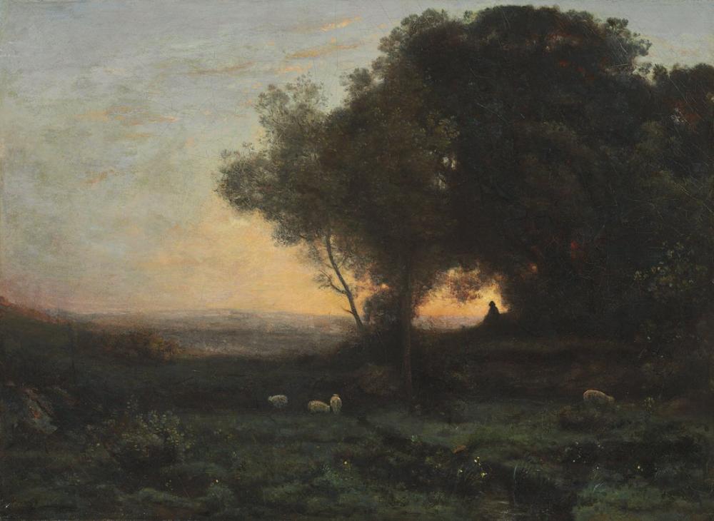 Camille Corot Ağaçların Altında Çoban, Kanvas Tablo, Camille Corot