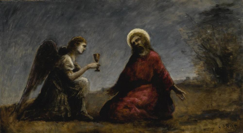 Camille Corot Zeytin Bahçesinde Mesih, Kanvas Tablo, Camille Corot