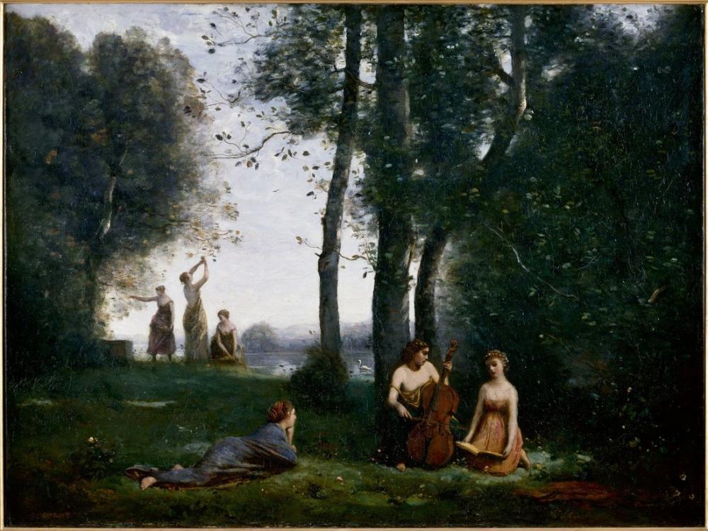 Camille Corot Ülke Konseri, Kanvas Tablo, Camille Corot, kanvas tablo, canvas print sales