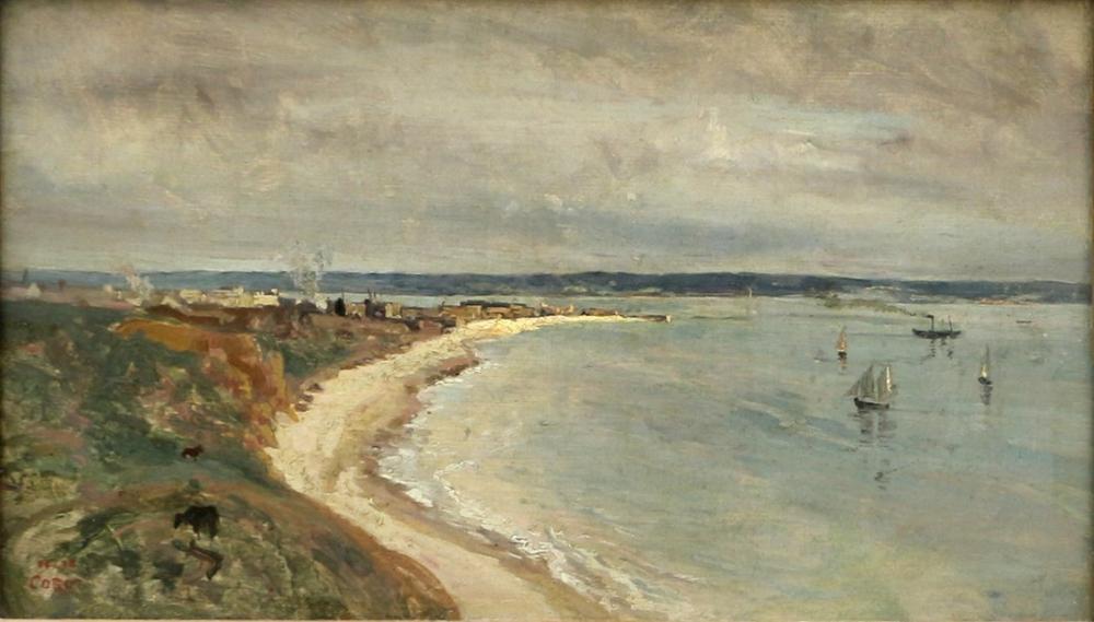 Camille Corot Liman Kayalıklardan Deniz Manzarası, Kanvas Tablo, Camille Corot