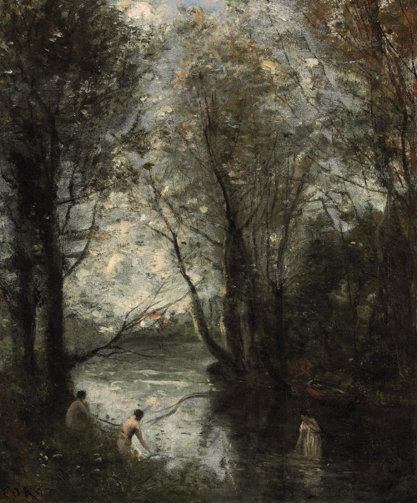 Camille Corot Üç Hamam, Kanvas Tablo, Camille Corot