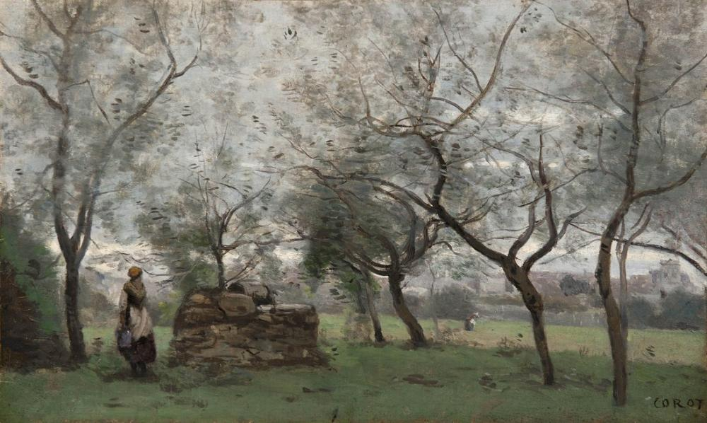 Camille Corot Mantes Çevresindeki Meyve Bahçesi, Kanvas Tablo, Camille Corot, kanvas tablo, canvas print sales