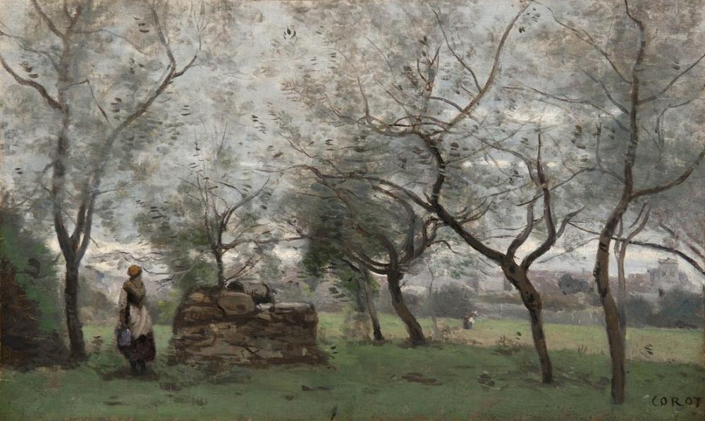 Camille Corot Mantes Çevresindeki Meyve Bahçesi, Kanvas Tablo, Camille Corot