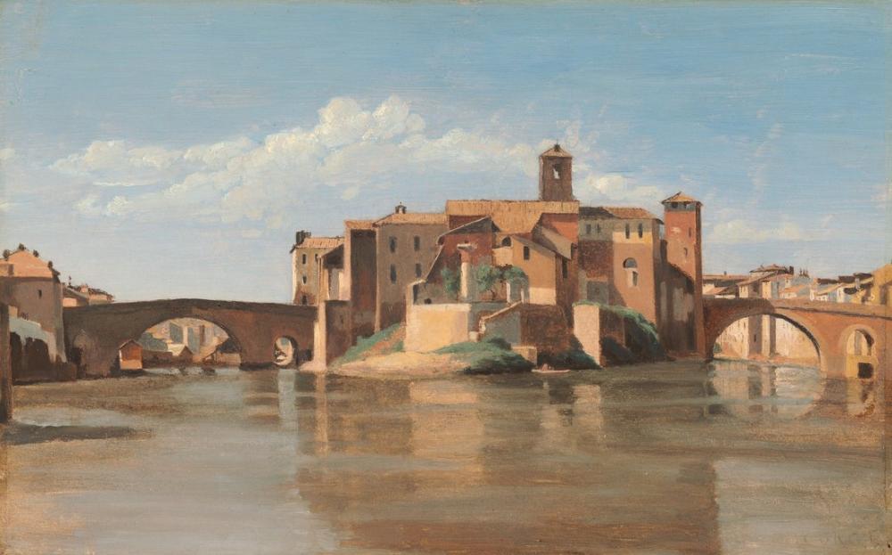 Camille Corot Ada Ve San Bartolomeo Roma Köprüsü, Kanvas Tablo, Camille Corot