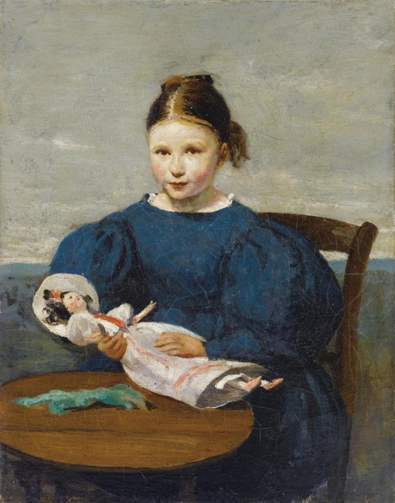 Camille Corot Bir Bebek İle Küçük Kız, Kanvas Tablo, Camille Corot