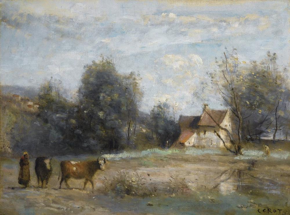 Camille Corot Luzancy Sahildeki İnsanlar Küçük Ev, Kanvas Tablo, Camille Corot