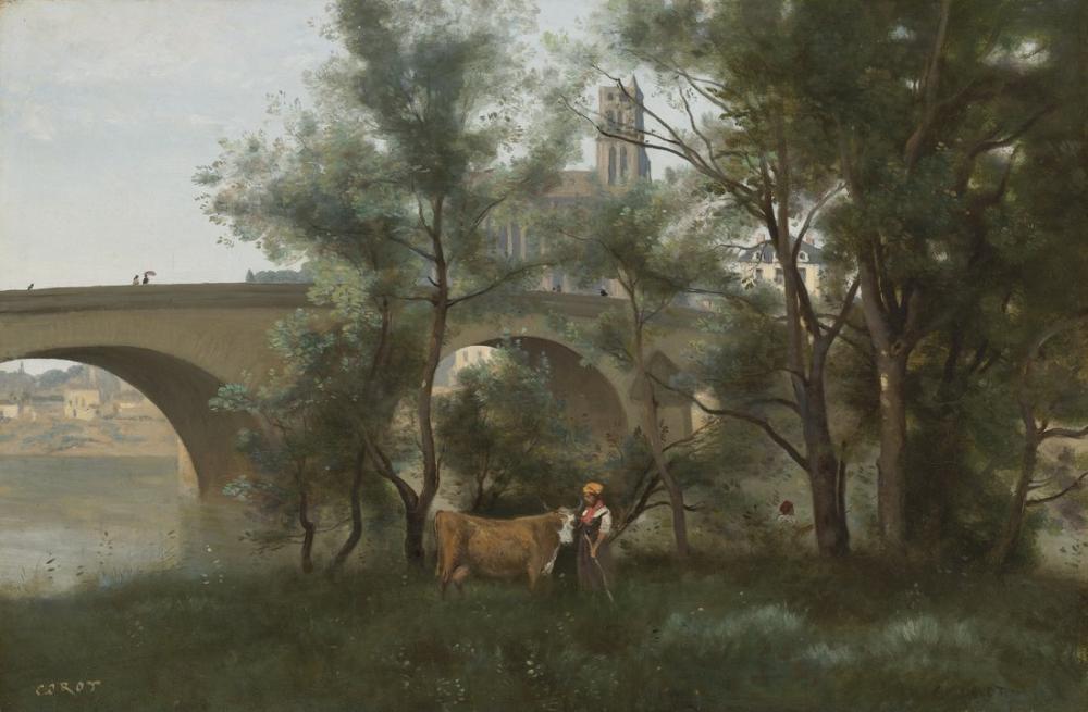 Camille Corot Mantes Les Bords De La Seine Au Pied Du Pont, Canvas, Camille Corot, kanvas tablo, canvas print sales