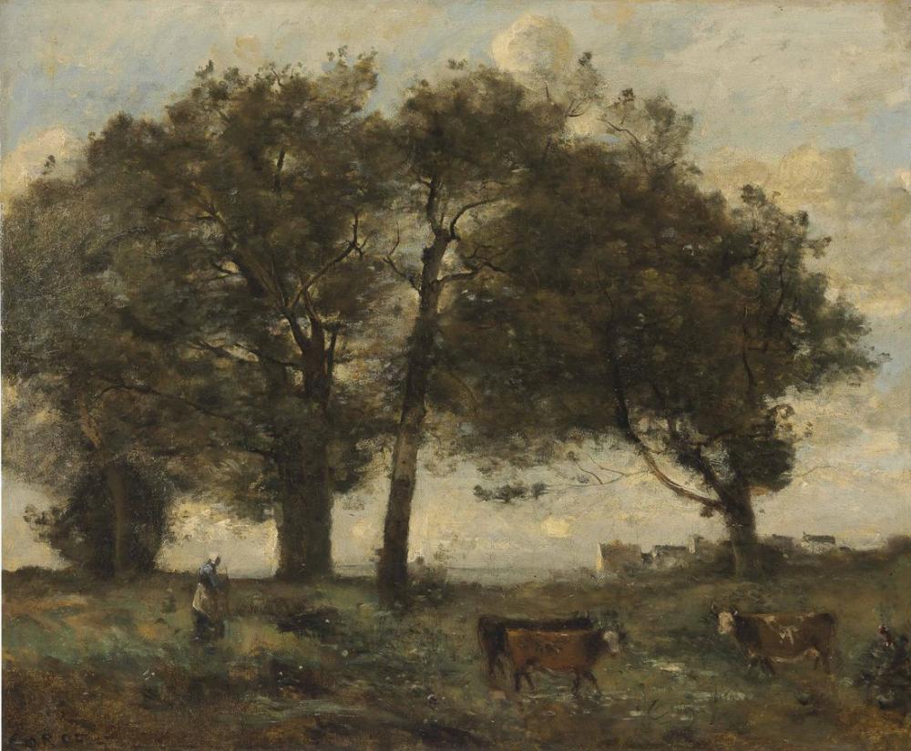Camille Corot Üç İnek İle Woody Yürüyüşleri, Kanvas Tablo, Camille Corot