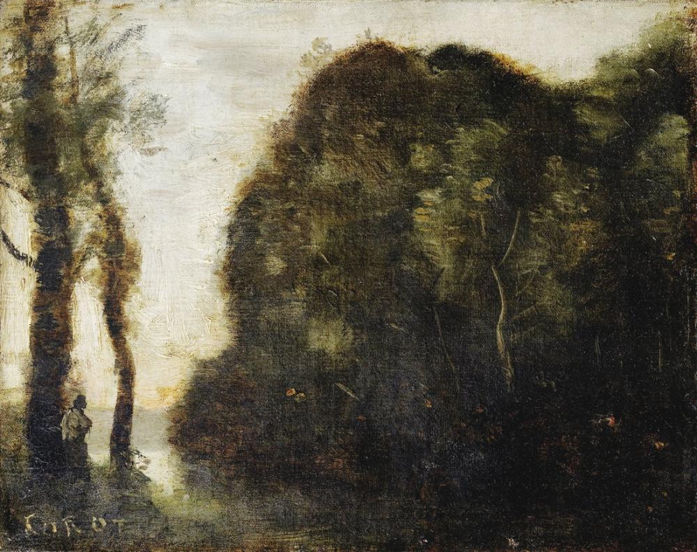 Camille Corot Gün Batımında Ağaçlar Massif, Kanvas Tablo, Camille Corot