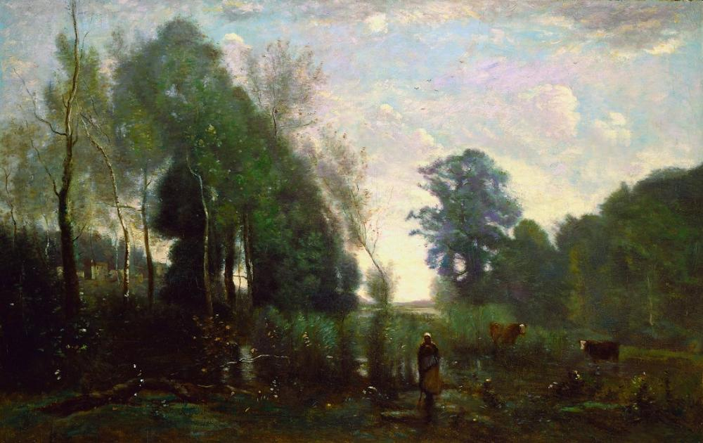 Camille Corot Misty Sabah, Kanvas Tablo, Camille Corot