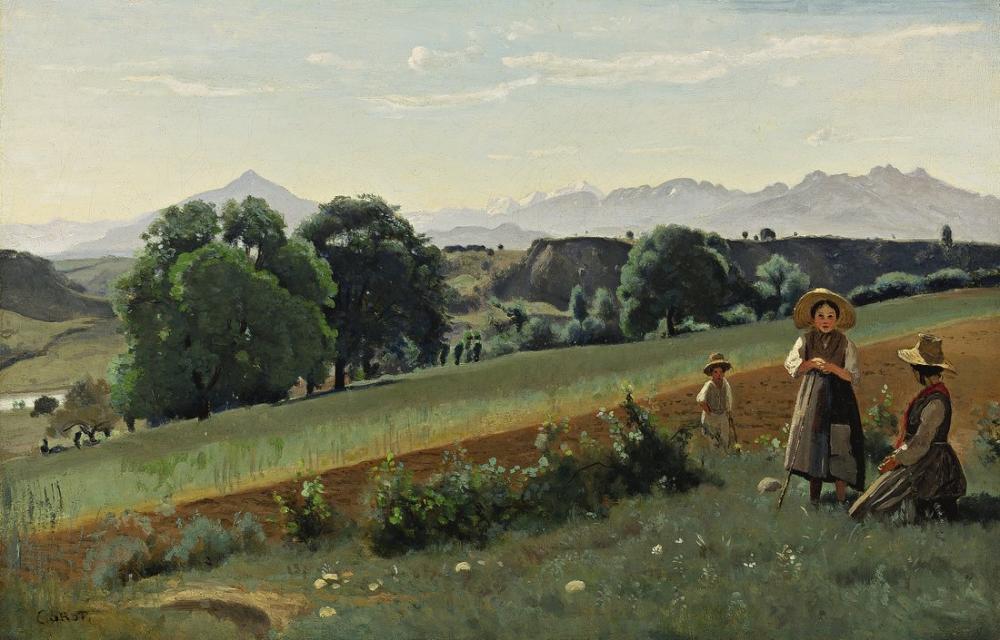 Camille Corot Alttaki Mornex Köstebek, Kanvas Tablo, Camille Corot