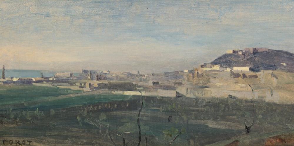Camille Corot Napoli Saint Elmo Dağı Ve Şehrinin Bir Parçası, Kanvas Tablo, Camille Corot
