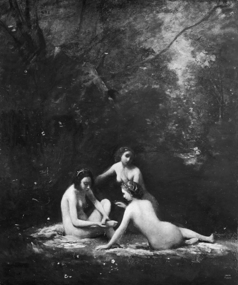 Camille Corot Banyodan Ayrılan Periler, Kanvas Tablo, Camille Corot, kanvas tablo, canvas print sales