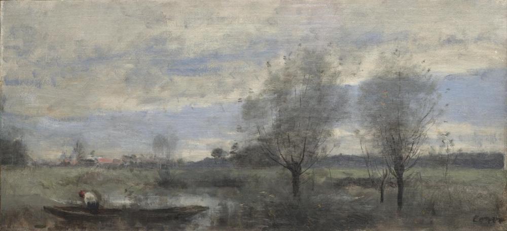 Camille Corot Palluel Bataklıklarda Boater, Kanvas Tablo, Camille Corot