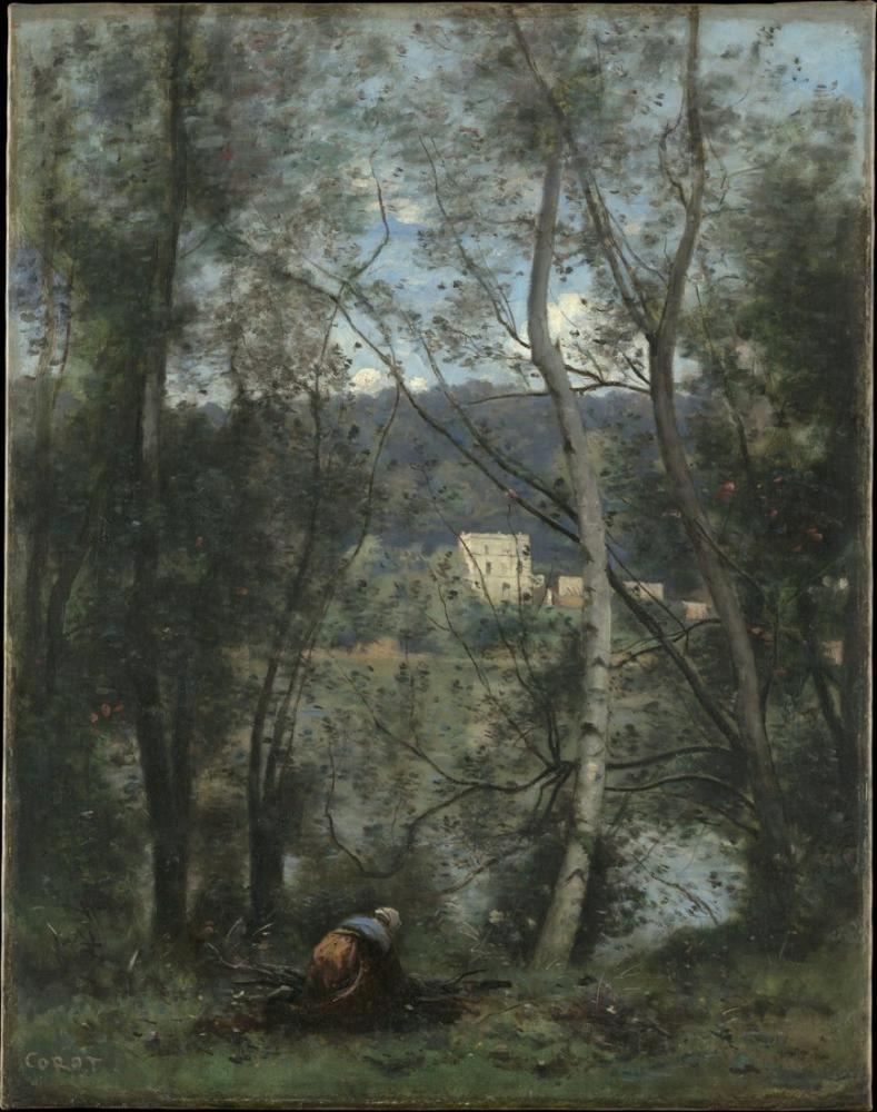 Camille Corot Çalı Çırpı Toplayan Bir Kadın Ville D Avray, Kanvas Tablo, Camille Corot, kanvas tablo, canvas print sales