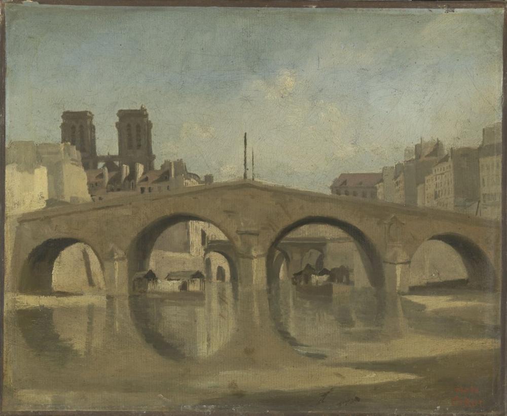 Camille Corot Paris Vieux Pont Saint Michel, Kanvas Tablo, Camille Corot