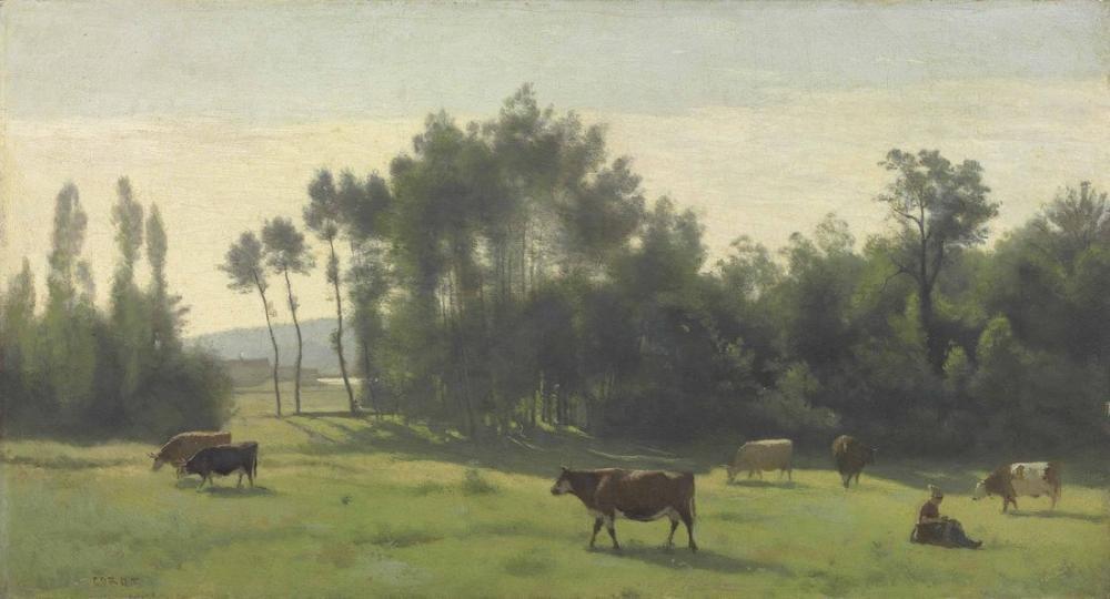 Camille Corot Pastures At Dawn Limousin, Canvas, Camille Corot, kanvas tablo, canvas print sales