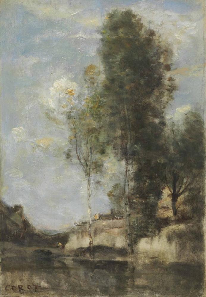 Camille Corot Gümüş Huş Ağacı İle Peyzaj, Kanvas Tablo, Camille Corot