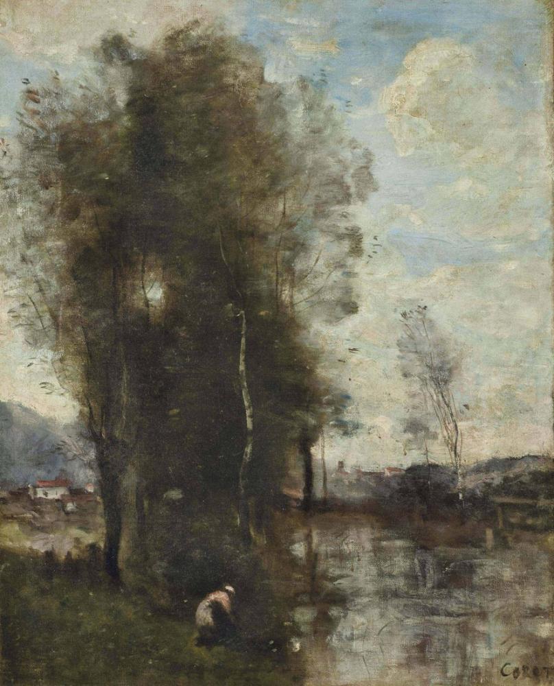 Camille Corot Köylü Kadın Nehrin Kenarında, Kanvas Tablo, Camille Corot