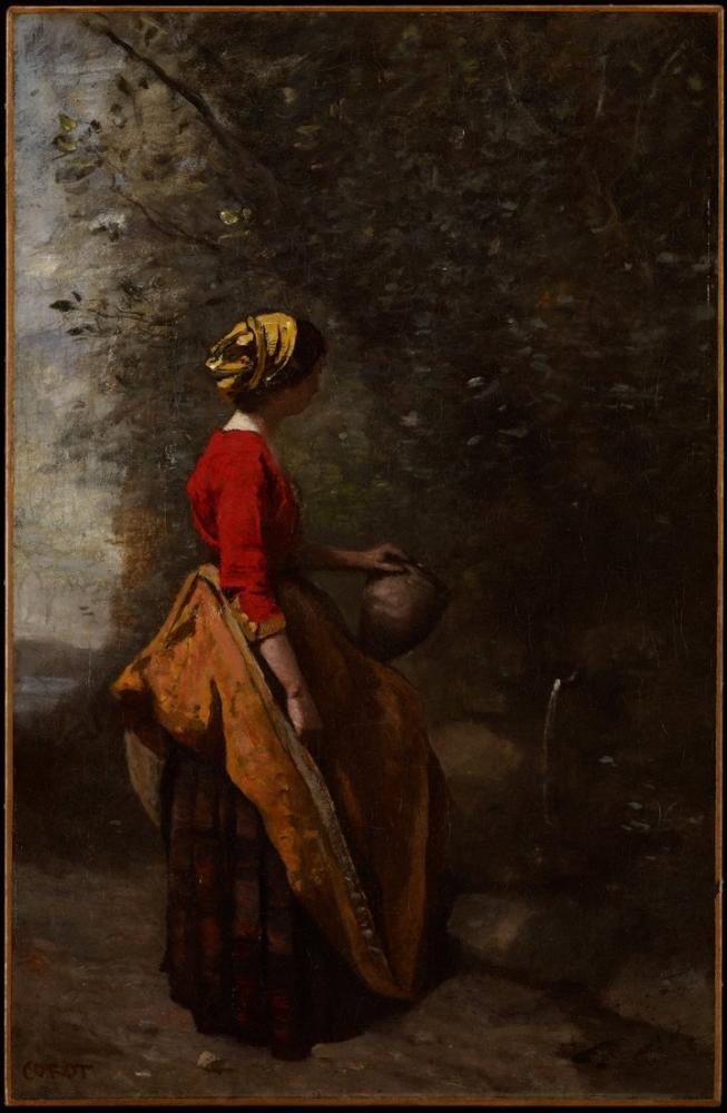 Camille Corot Köylü Kızı Baharda, Kanvas Tablo, Camille Corot
