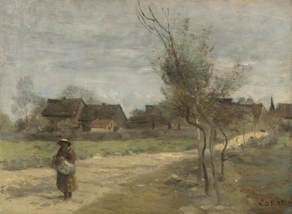 Camille Corot Köylü Kadın Bir Köye Manzaralı Bir Yolda, Kanvas Tablo, Camille Corot
