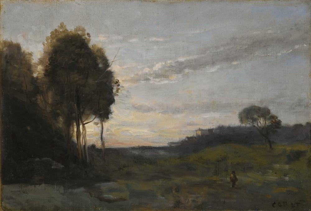 Camille Corot Bir Manzaradaki Karakter, Kanvas Tablo, Camille Corot