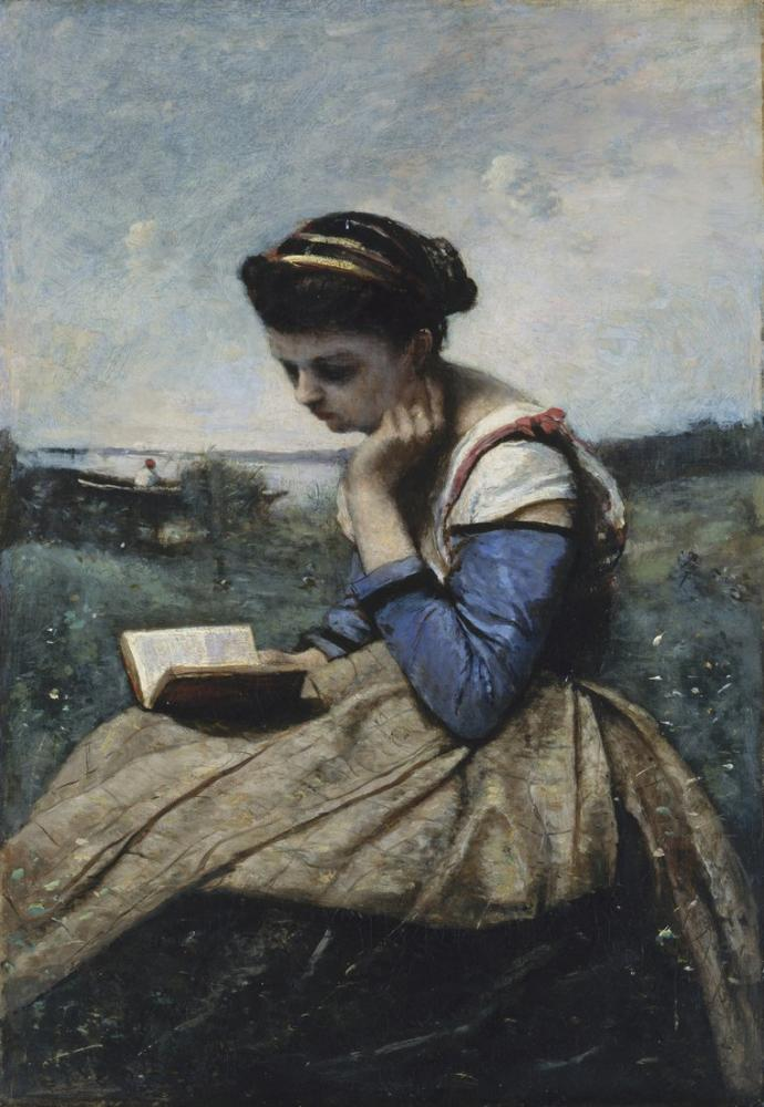 Camille Corot Bir Kadın Okuma, Kanvas Tablo, Camille Corot
