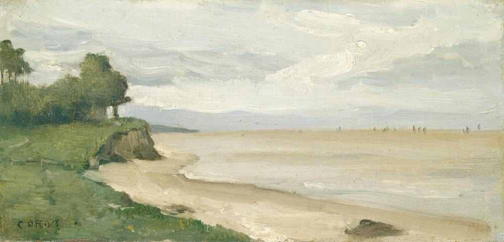 Camille Corot Beach Near Etretat, Canvas, Camille Corot, kanvas tablo, canvas print sales