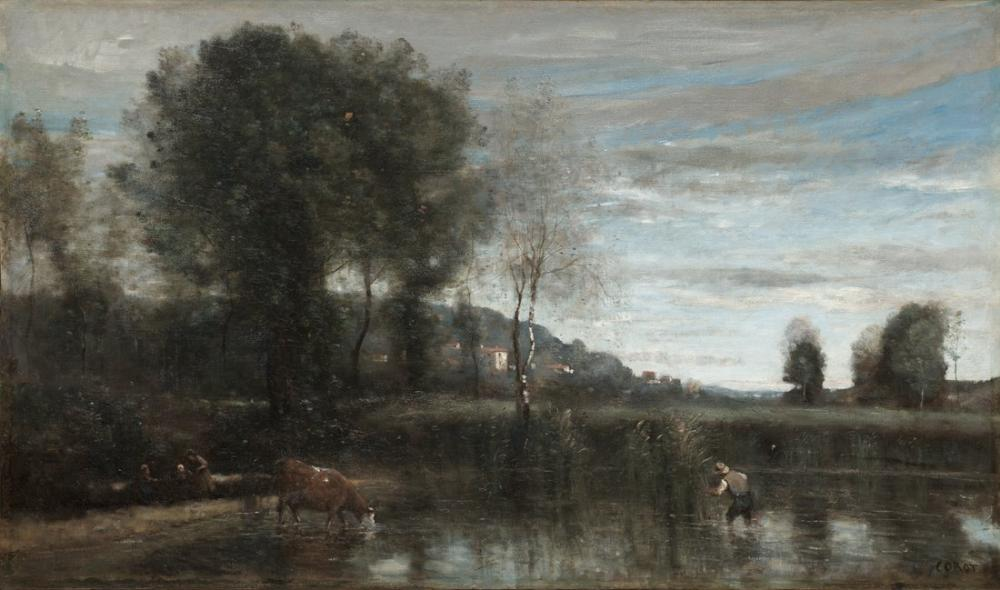 Camille Corot Pond At Ville Davray, Canvas, Camille Corot, kanvas tablo, canvas print sales