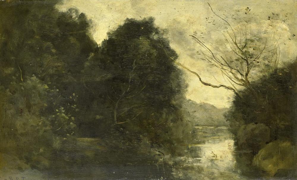 Camille Corot Ormanda Gölet, Kanvas Tablo, Camille Corot