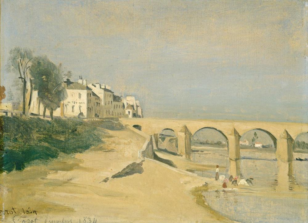 Camille Corot Saone Üzerinde Macon Köprü Yolu, Kanvas Tablo, Camille Corot