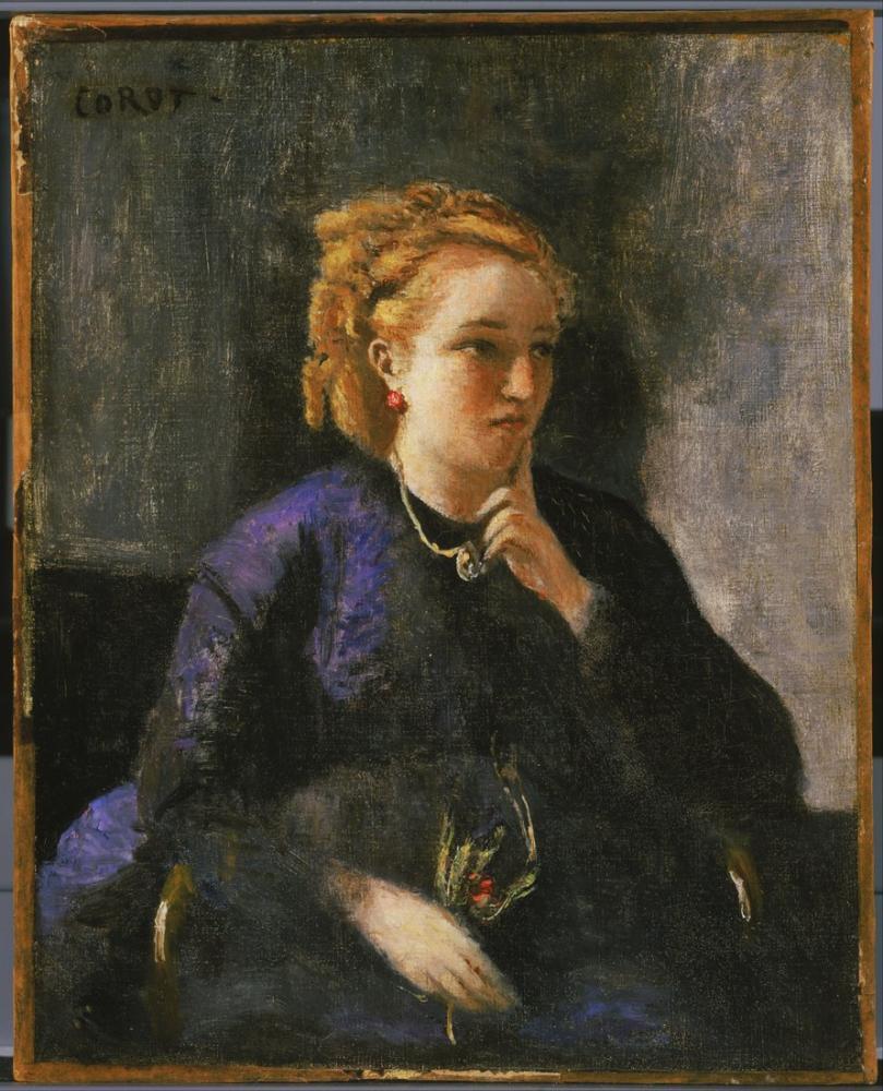 Camille Corot Bir Kadın Portresi, Kanvas Tablo, Camille Corot