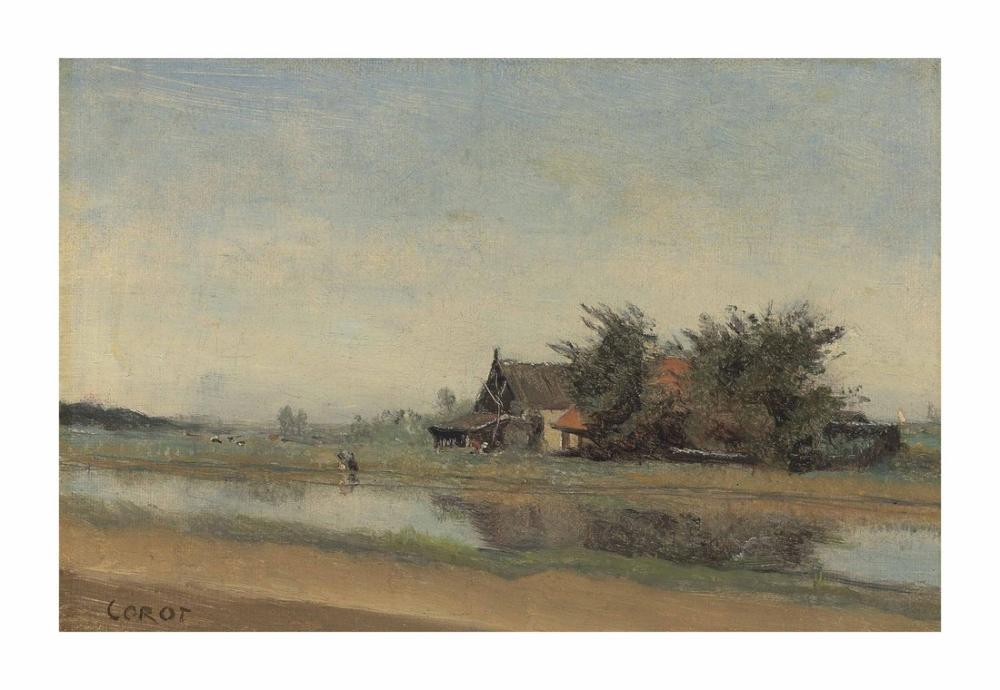 Camille Corot İstasyonun Yanında Evler Ve Ağaç Kümeleri, Kanvas Tablo, Camille Corot