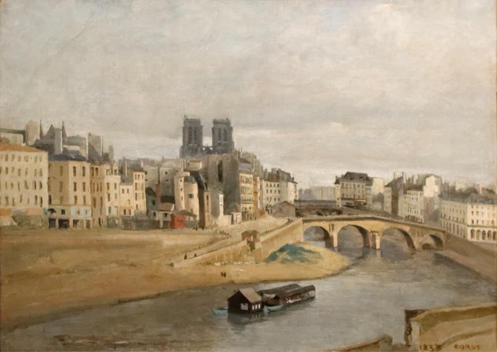 Camille Corot Quai Des Orfevres And Saint Michel Bridge, Canvas, Camille Corot