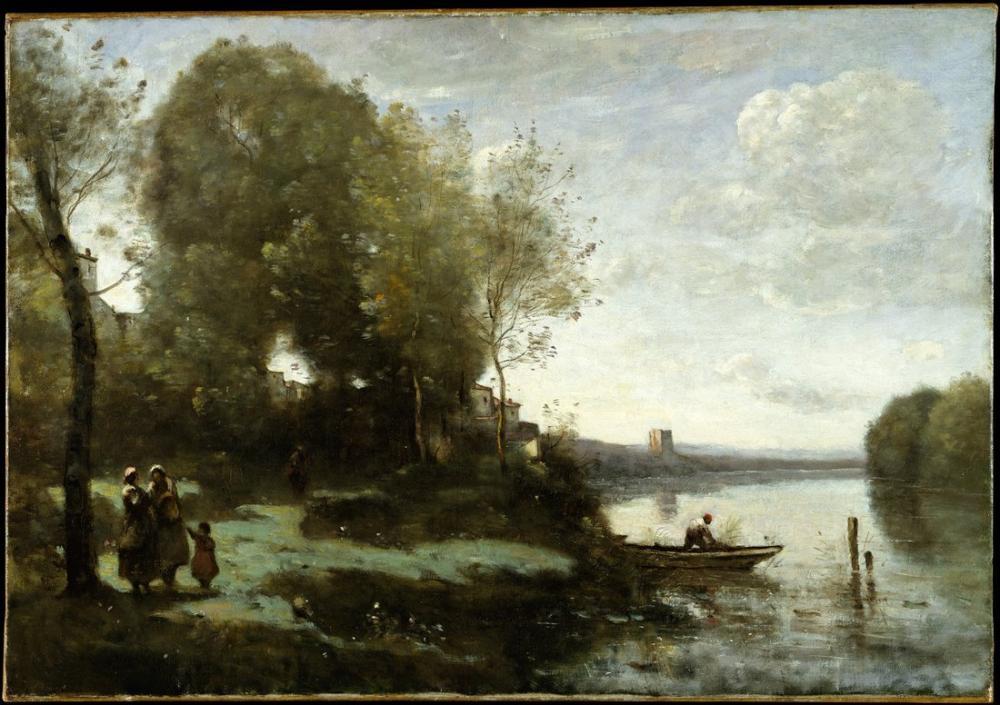 Camille Corot Uzak Kule ile Nehir, Kanvas Tablo, Camille Corot