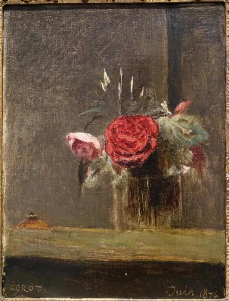 Camille Corot Bir Bardak Gül, Kanvas Tablo, Camille Corot