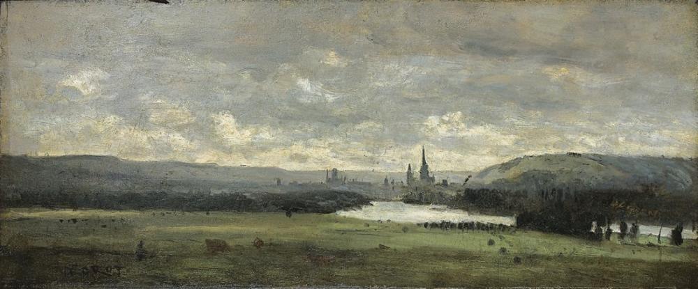 Camille Corot Rouen Ön Planda Seine Panoramik Manzarası, Kanvas Tablo, Camille Corot