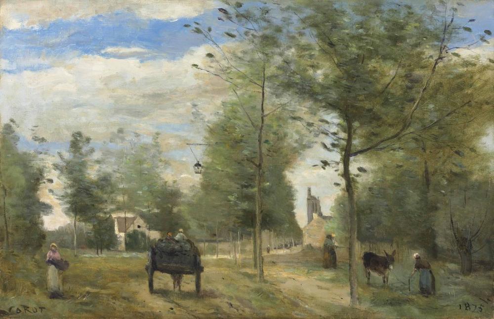 Camille Corot Brie Bir Şehrin Varoşlarında Yol, Kanvas Tablo, Camille Corot