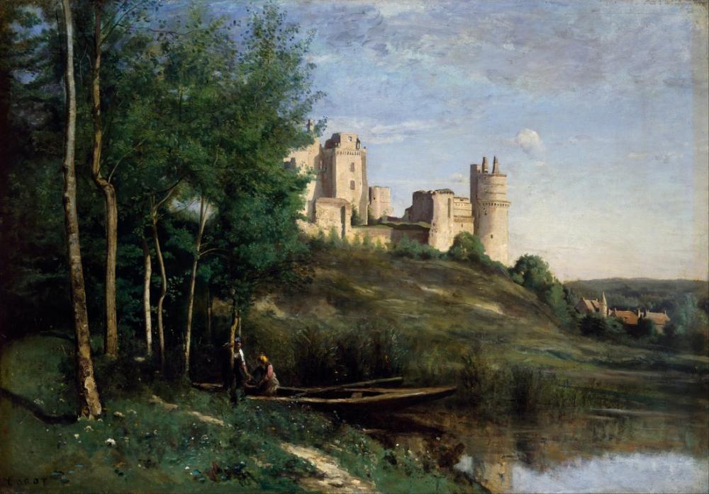 Camille Corot Chateau De Pierrefonds Harabeleri, Kanvas Tablo, Camille Corot