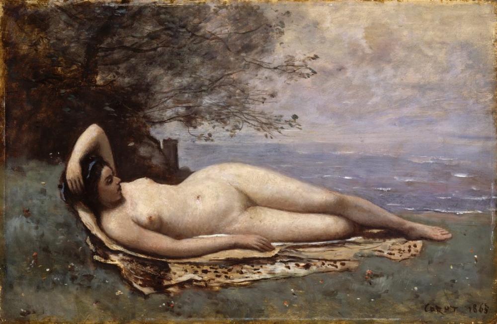 Camille Corot Bacchante Denizden, Kanvas Tablo, Camille Corot