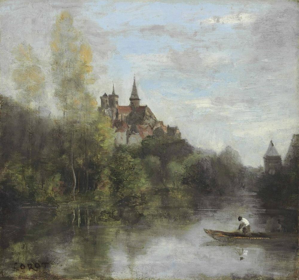 Camille Corot Semur Armançon Katedral Görünümü, Kanvas Tablo, Camille Corot