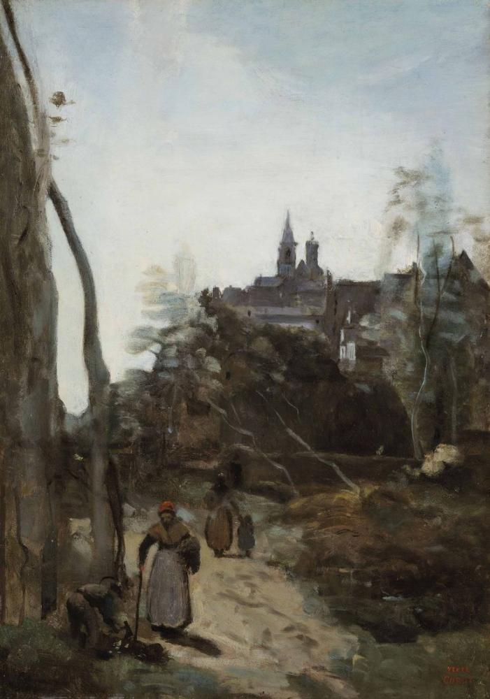 Camille Corot Semur Kilise Yolu, Kanvas Tablo, Camille Corot
